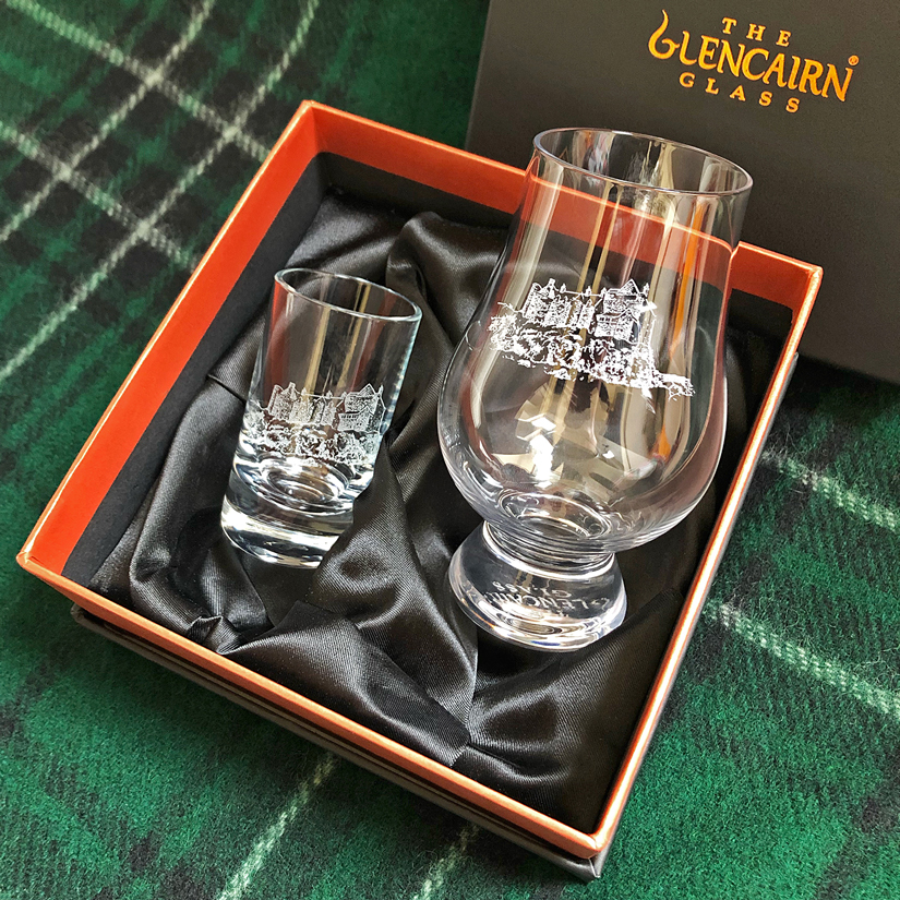 Shot Glass MacIntosh Clan Crest Set of 2 Whisky Tots Scottish Made