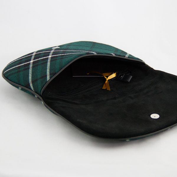 Maclean tartan clutch bag open