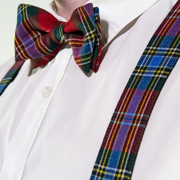tartan braces with tartan bow tie