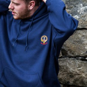 model wearing Clan Maclean hooded sweatshirt