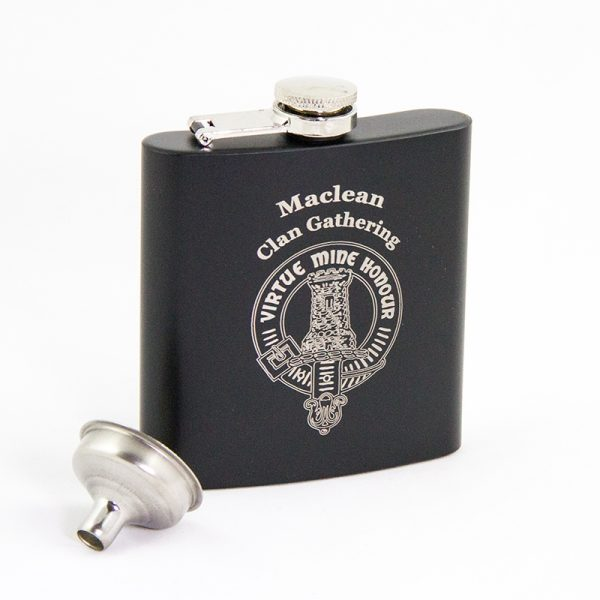 Maclean Clan Gathering hip flask black