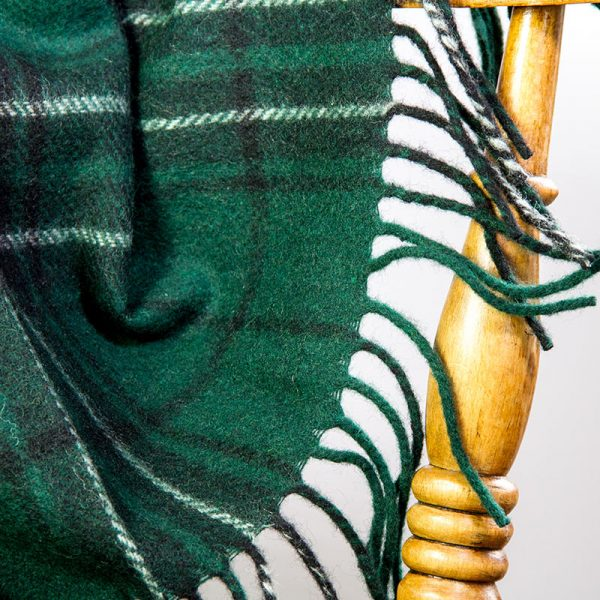 tartan travel rug green