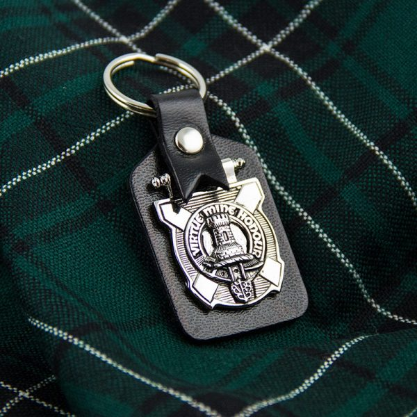 leather clan crest keyring