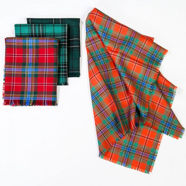 assorted tartan scarves