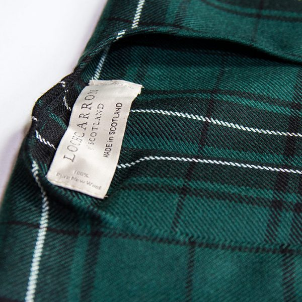 Maclean tartan serape label, made in scotland