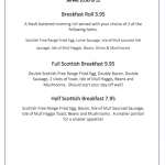 duart castle isle of mull tearoom breakfast menu sample