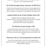 duart castle isle of mull tearoom specials menu sample